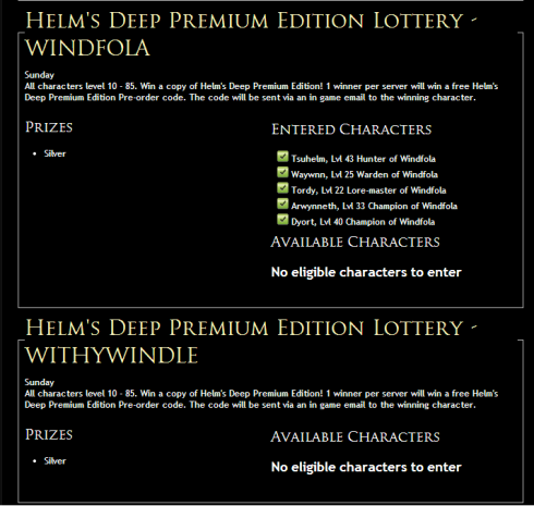 LOTRO; HD lottery