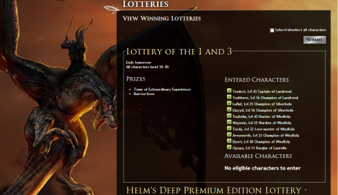 LOTRO lottery 1 and 3